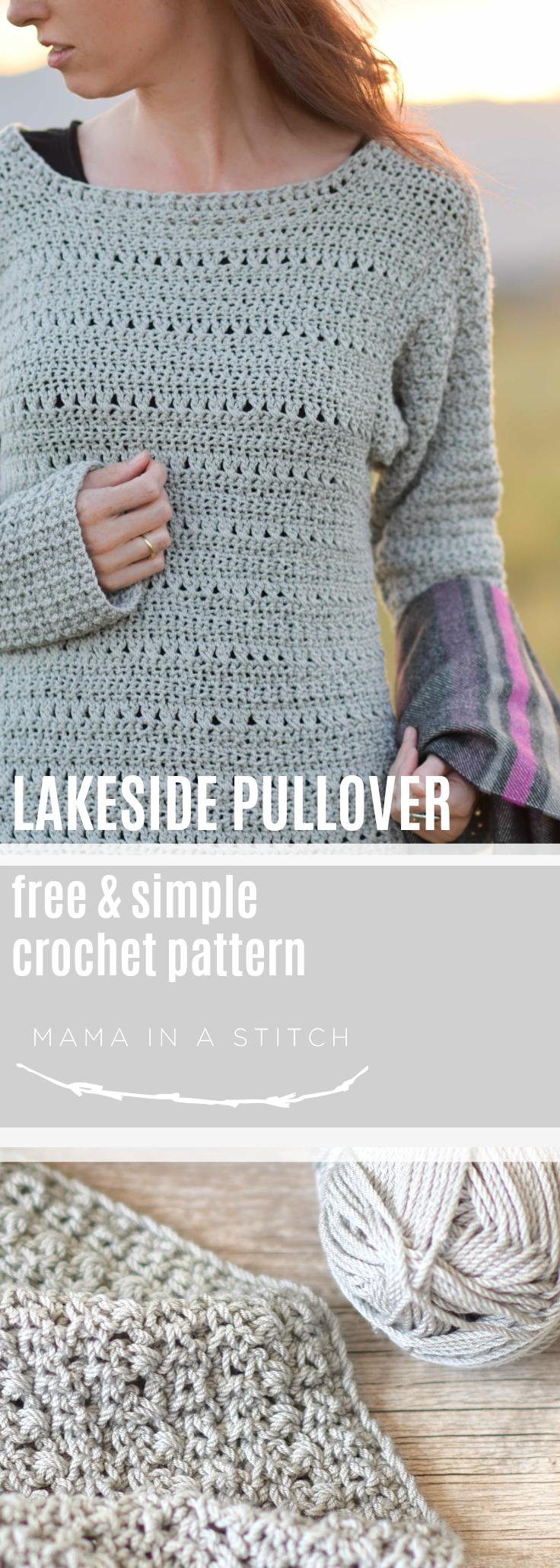 The Lakeside Easy Crocheted Pullover Pattern – Mama In A Stitch