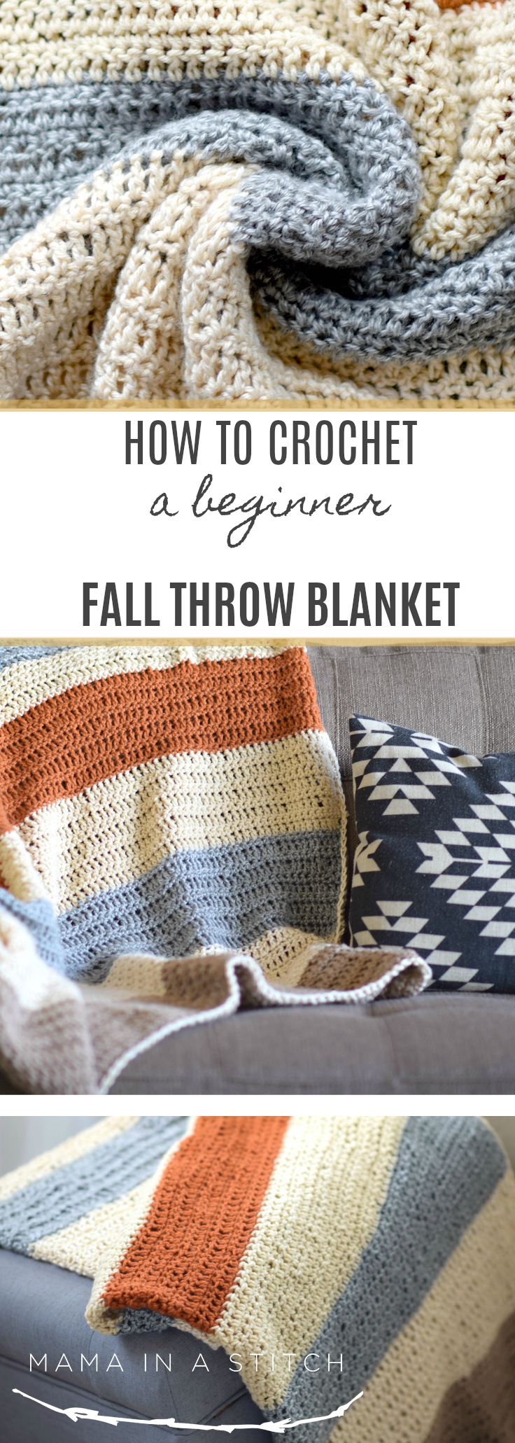 This project is perfect for beginner crocheters as the blanket is so easy to make! Free pattern with helpful tutorials as well. #crafts #fall #diy #crochet