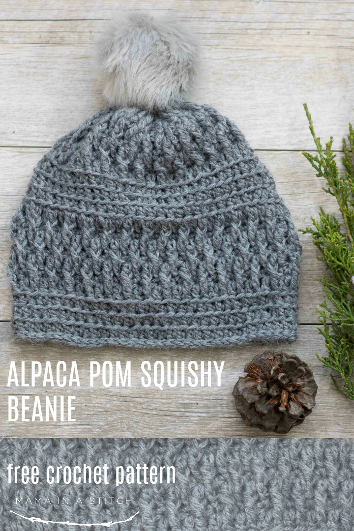 Alpaca Squishy Pom Beanie Crochet Hat Pattern Mama In A Stitch