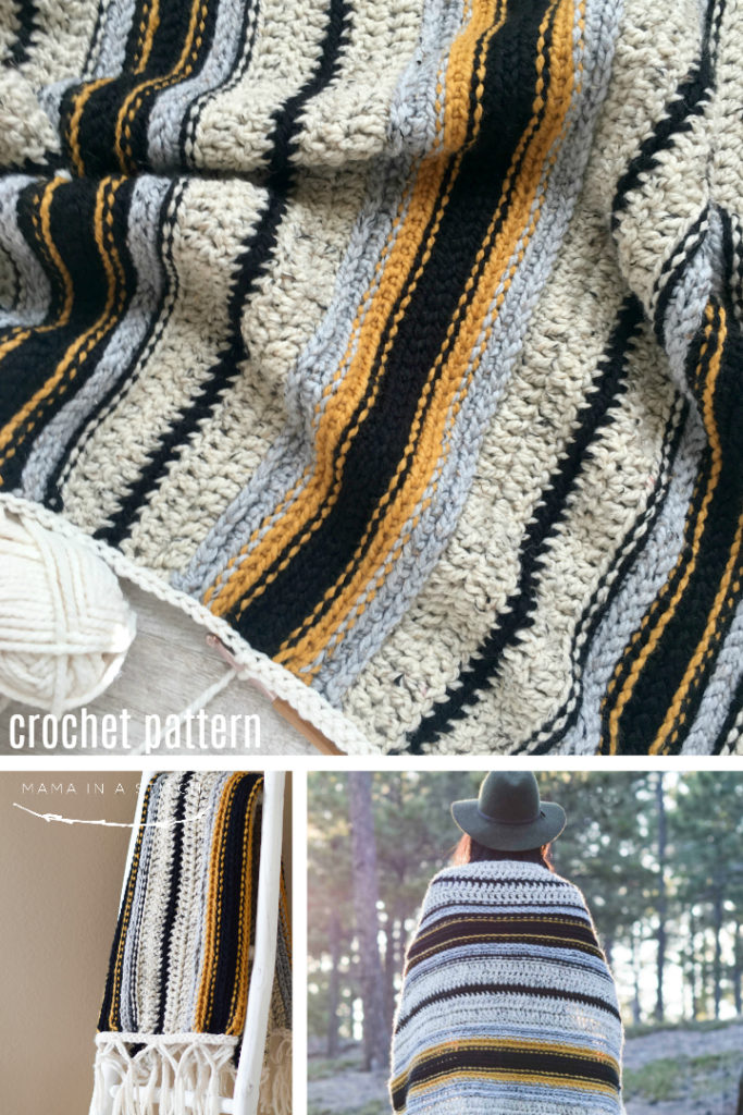 Mexican Serape Blanket Crochet Pattern Mama In A Stitch