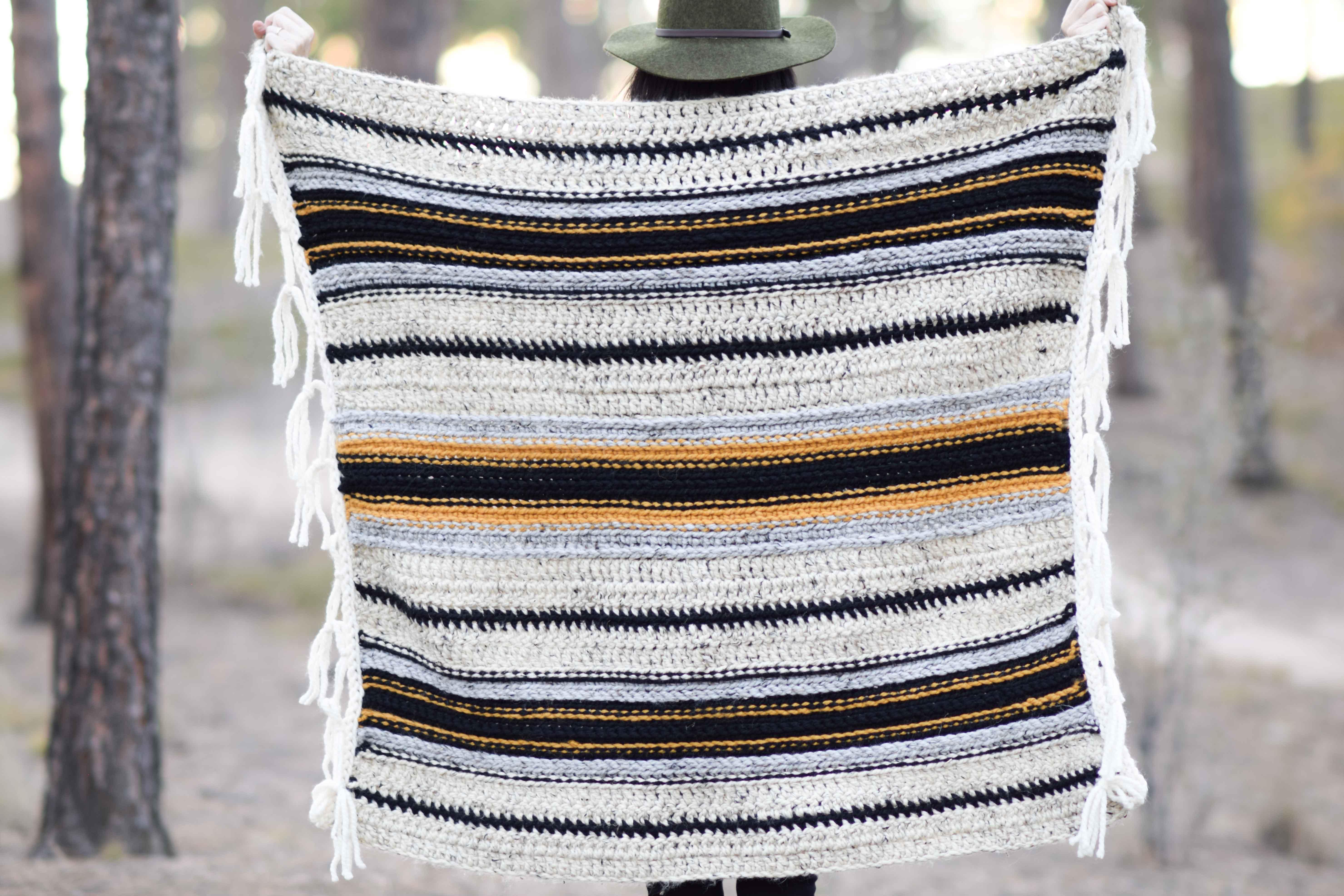Mexican Serape Blanket Crochet Pattern Mama In A Stitch