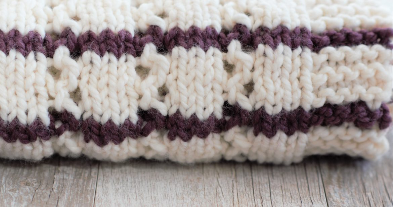 Stripes Eyelets Urban Easy Blanket Knitting Pattern Mama In A Stitch