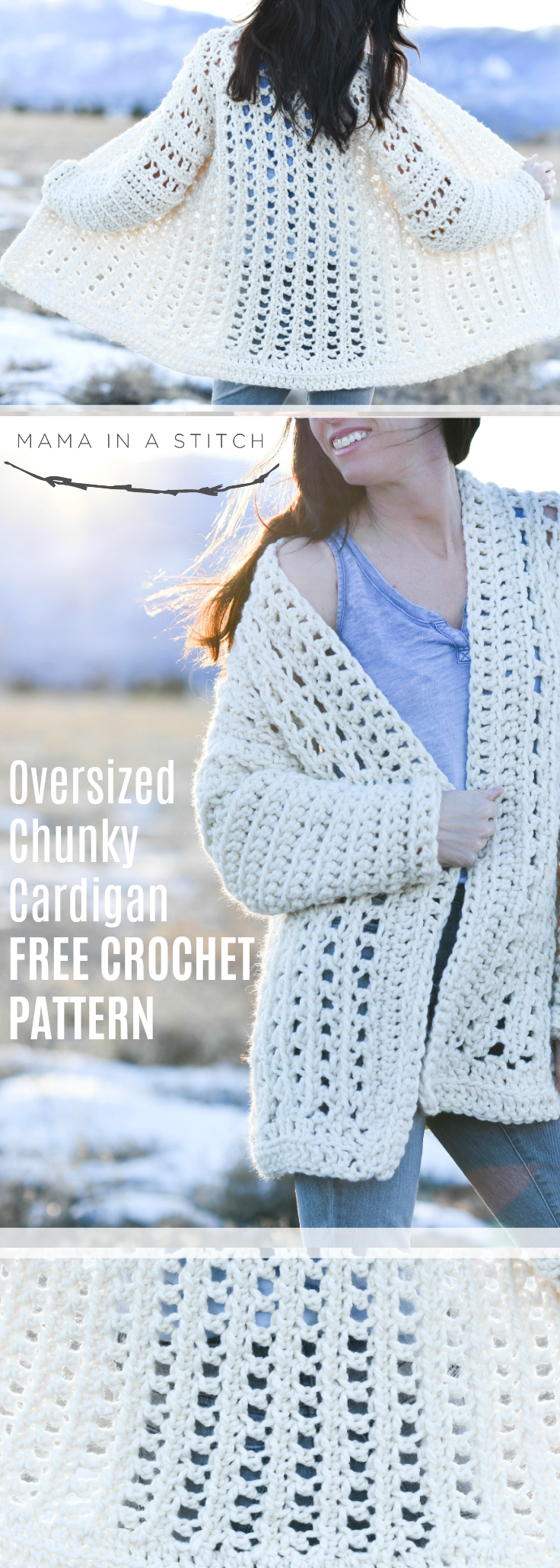 Light Snow Oversized Cardigan Crochet Free Pattern Mama In A Stitch