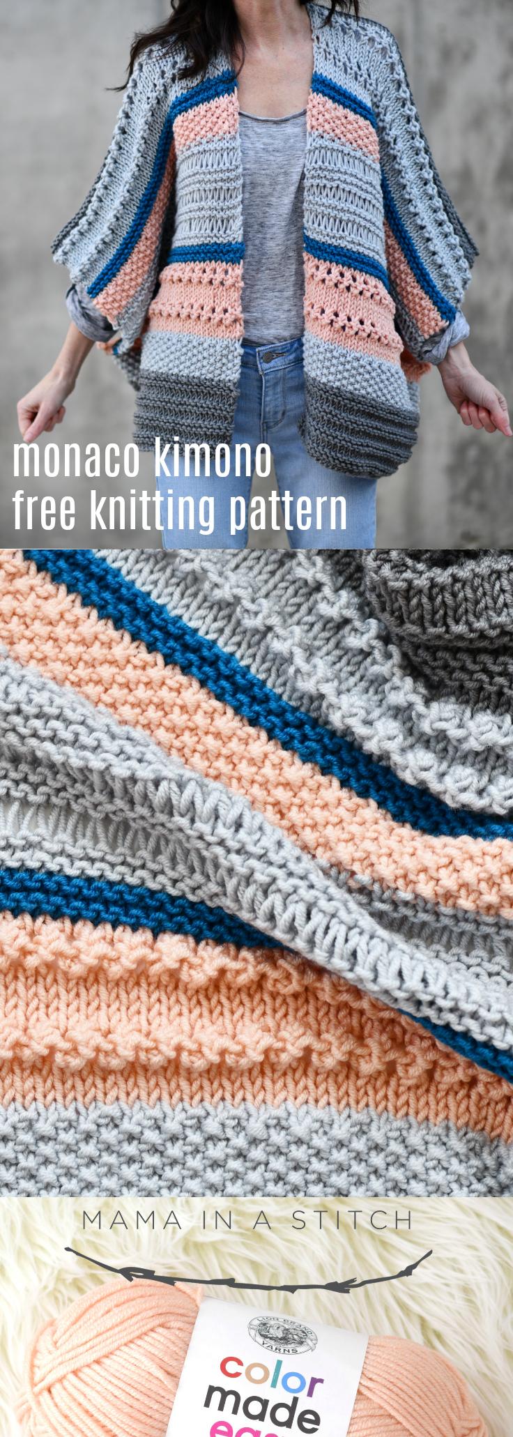 Monaco Kimono Knitting Pattern - Mama In A Stitch