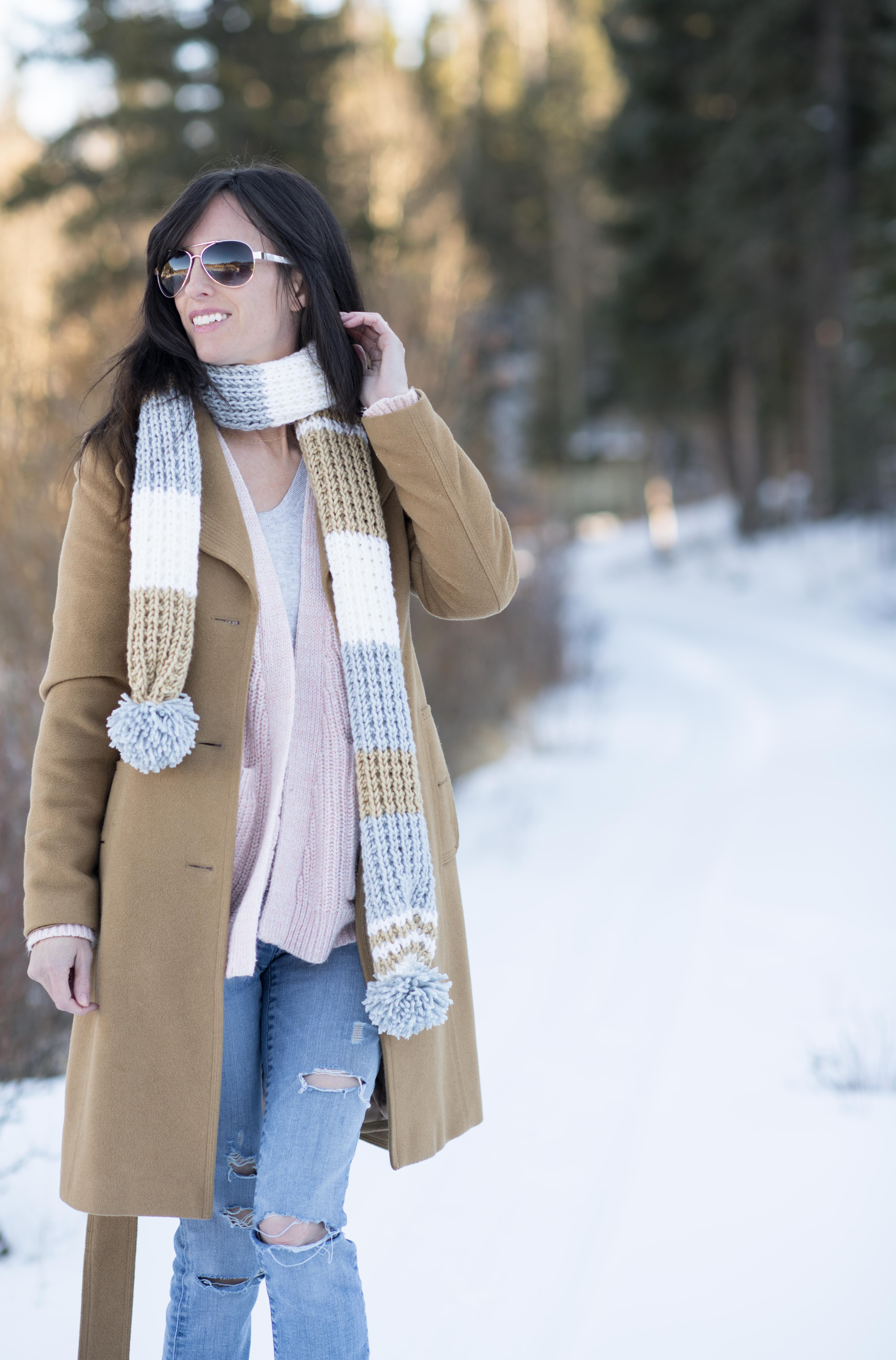 Fairbanks Pommed Knit Scarf Pattern – Mama In A Stitch