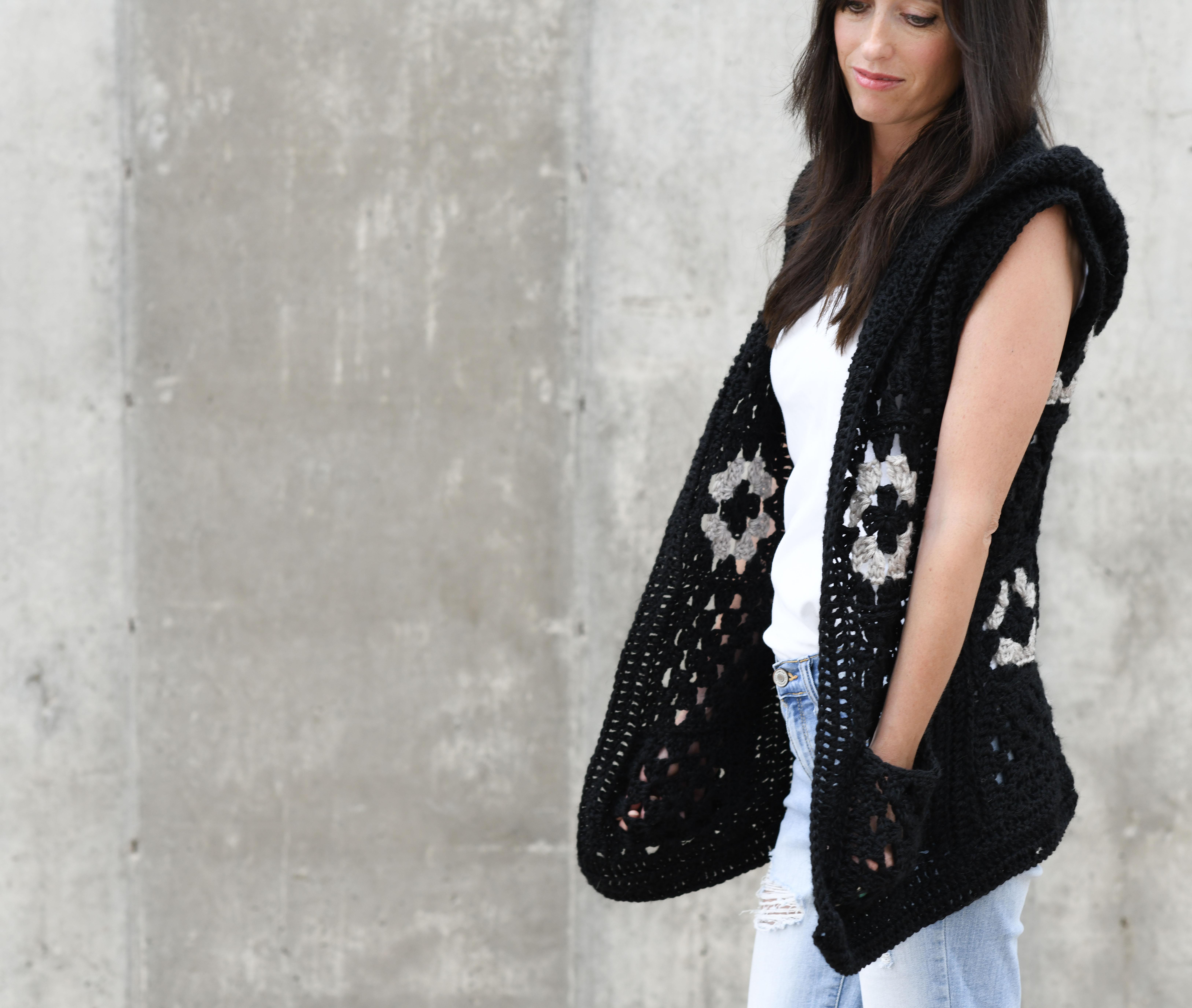 Hooded Granny Square Vest Crochet Pattern Mama In A Stitch