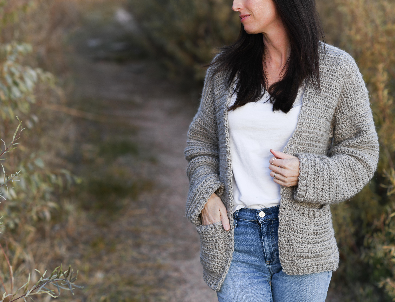 Easy Crochet Sweater Pattern Boyfriend Cardigan Mama In A Stitch